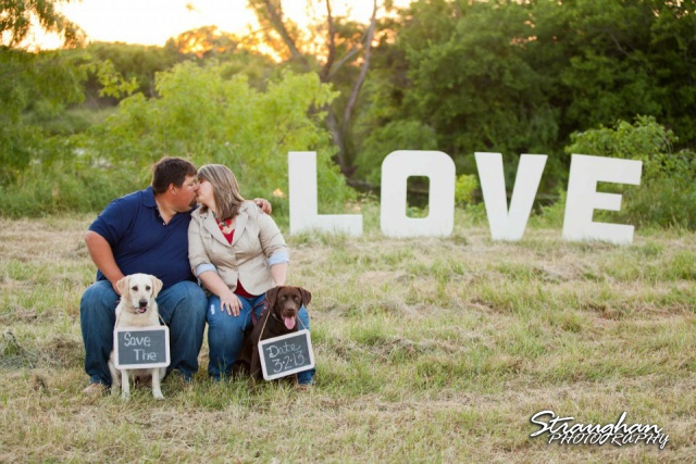 Texas engagement with dogs