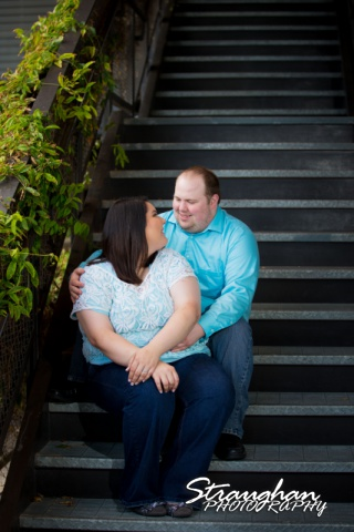 Cara engagement at the Pearl on the stairs