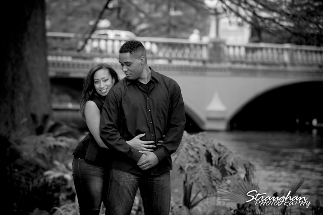 Lorie Engagement San Antonio Riverwalk bw by commerce st bridge