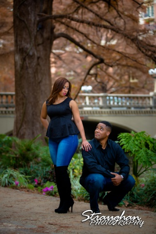 Lorie Engagement San Antonio Riverwalk by bridge