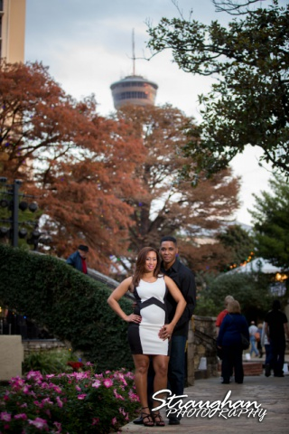 Lorie Engagement San Antonio Riverwalk by La Villita Bridge w/ tower
