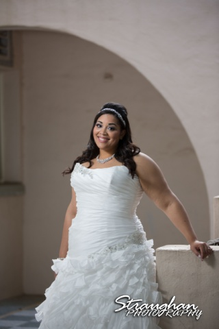 Siobahn bridal at Landa Library in front of arch