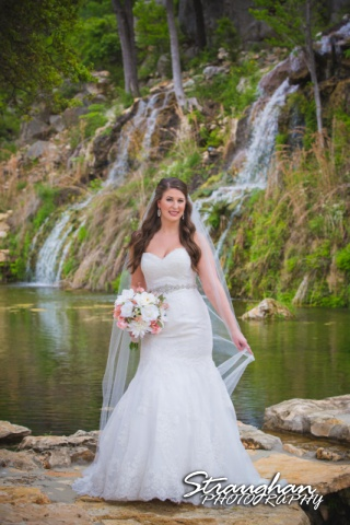 Jess Birdy Bridal the Lodge at Bridal Veil Falls in front of waterfall