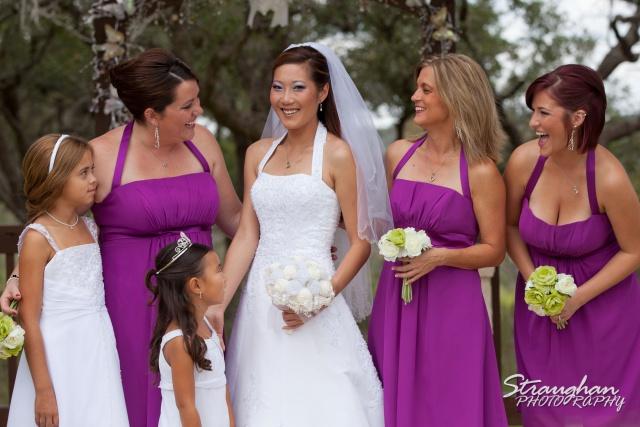 Bridesmaids laughing at Boulder Springs