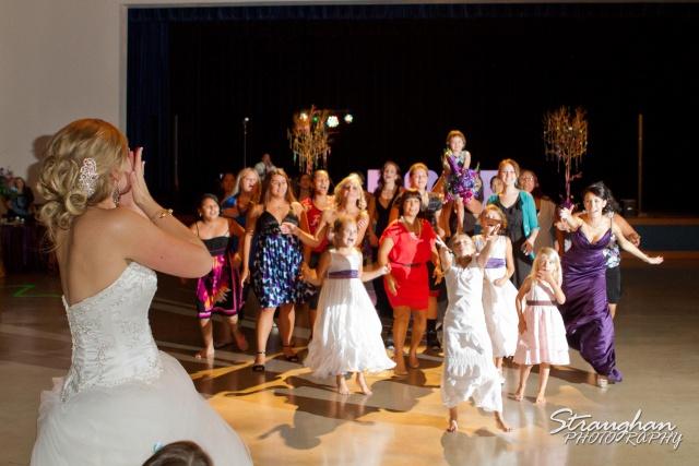 bouquet toss at New Braunfels Civic Center