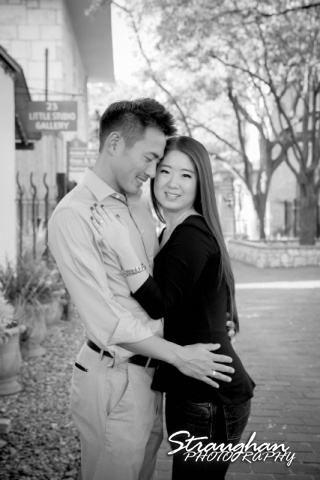 John and Christine's engagement sitting, San Antonio Riverwalk ,La Villita. BW kiss