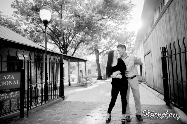 John and Christine's engagement sitting, San Antonio Riverwalk ,La Villita. bw hug