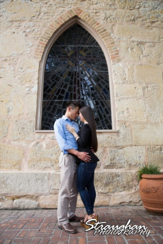 John and Christine's engagement sitting, San Antonio Riverwalk ,La Villita. in front of window1