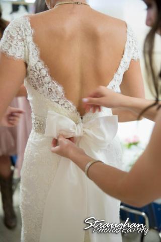 Emily and Brandon's Wedding, Annunciation Catholic Church getting dressed