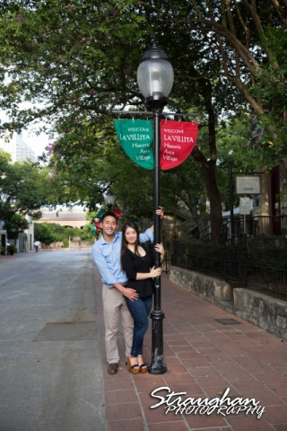 John and Christine's engagement sitting, San Antonio Riverwalk ,La Villita. pole1
