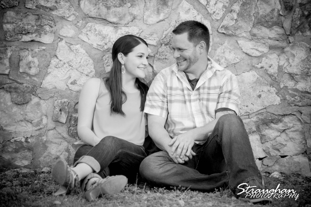 Kelly's engagement San Antonio park bw against the wall
