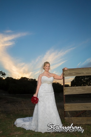 Katie's Bridal Kendall Plantation sunset by fence