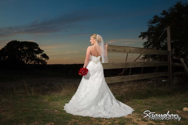 Katie's Bridal Kendall Plantation sunset by fence landscape