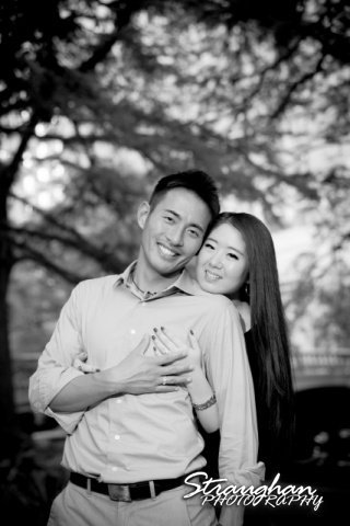 John and Christine's engagement sitting, San Antonio Riverwalk ,La Villita. bw hand on chest
