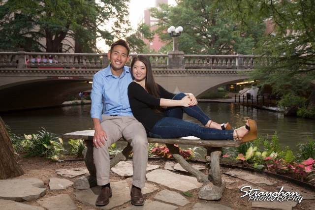 John and Christine's engagement sitting, San Antonio Riverwalk ,La Villita. on sude walk