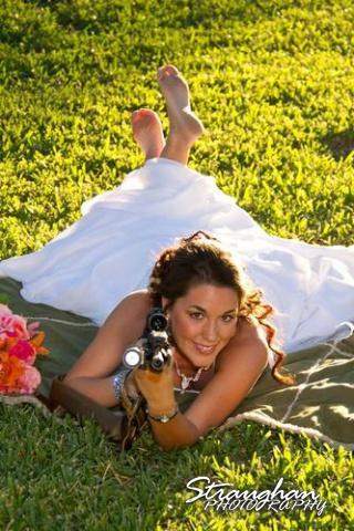 Tina's bridal Castle Avalon with a gun