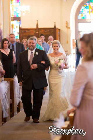 Emily and Brandon's Wedding, Annunciation Catholic Church, father walking the bride