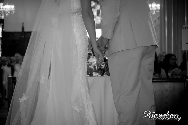 Emily and Brandon's Wedding, Annunciation Catholic Church bride and groom bw