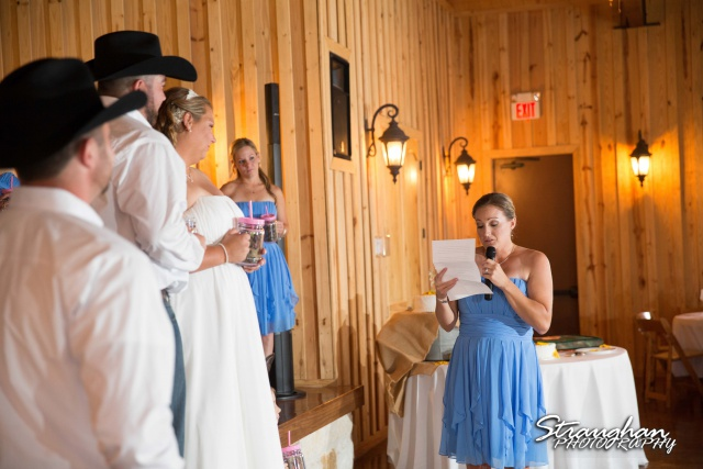 Lindsey and Tommy's Wedding, Boulder Springs toast2