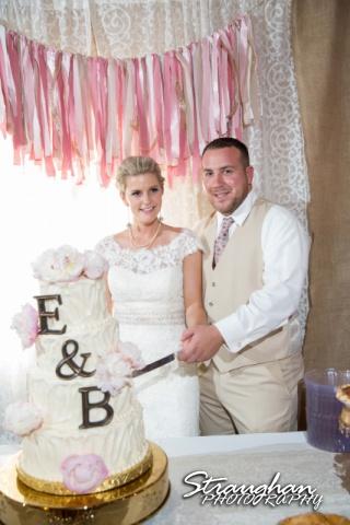 Emily and Brandon's Wedding, Annunciation Catholic Church cake cutting