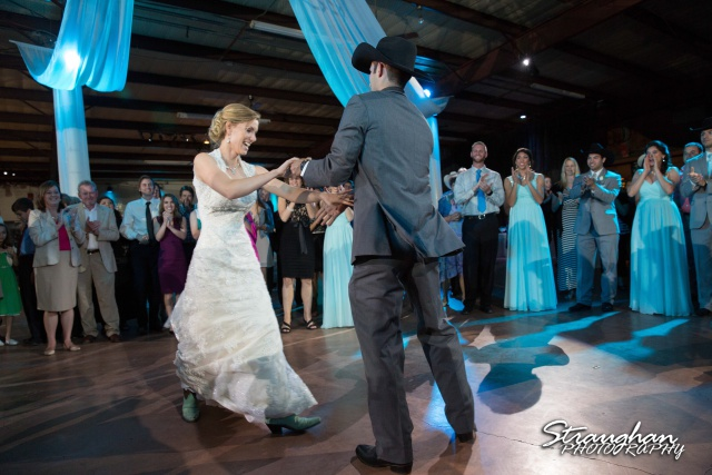 Wills wedding San Antonio, Country gold bride and groom dancing