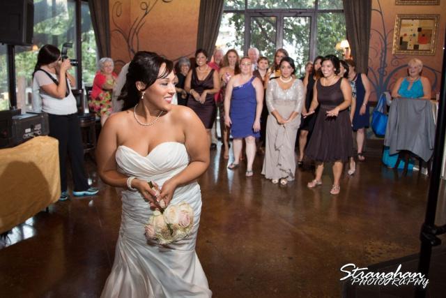 Anna wedding riverwalk San Antonio bouquet toss