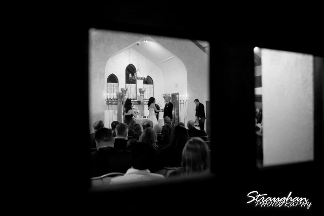 Chris Wedding Comfort Cathedral chapel view bw