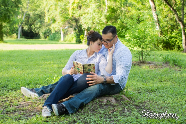 Augustina engagement at McNay reading a book