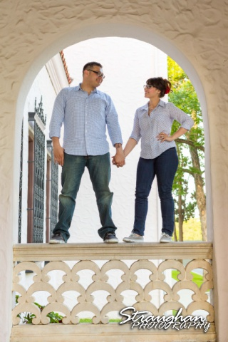 Augustina engagement at McNay staning on the arch