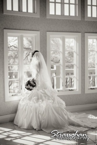 Allison's bridal Castle Avalon windows black and white