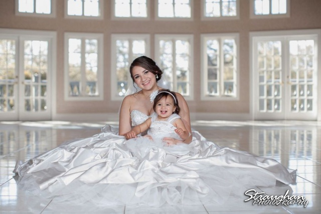 Allison's bridal Castle Avalon ballroom with Daughter