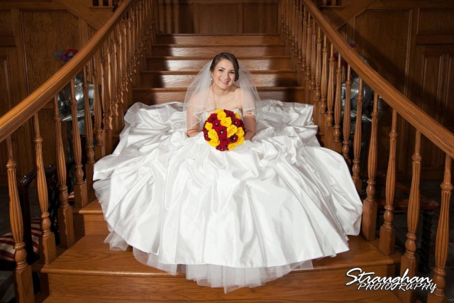 Allison's bridal Castle Avalon stair case sitting