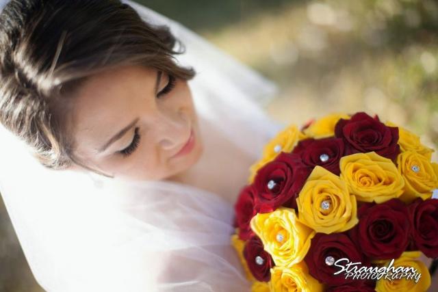 Allison's bridal Castle Avalon closeup with flowers
