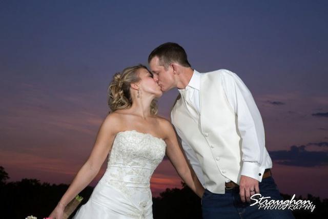 Amanda Red Coral Ranch wedding sunset kiss