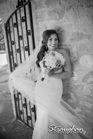 Allison H bridal Mission San Jose black and white with veil