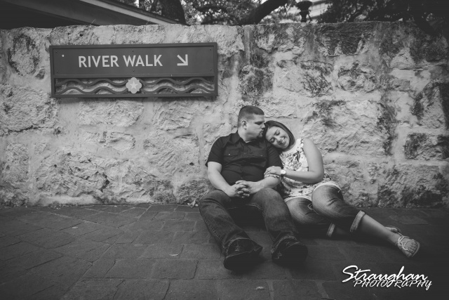 Joey Amanda engagement Riverwalk La Villita top of stairs