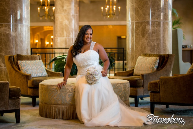Allie's Bridal Hotel Eilan in the lobby seated