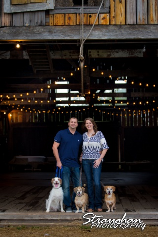 Allyson Engagement 1850 Settlement in the barn with dogs