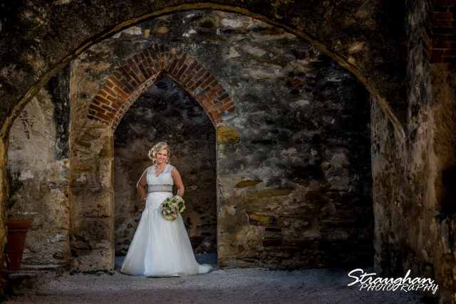 Amanda Shippy Bridal Mission San Jose in the arched doorway