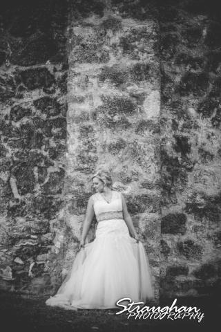 Amanda Shippy Bridal Mission San Jose bw on wall