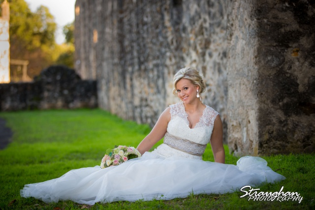 Amanda Shippey Bridal Mission San Jose seated in grass