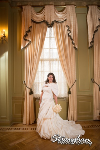 Allison bridal at Scottish Rite Theater San Antonio by the curtains