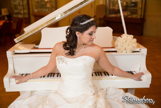 Allison's bridal Scottish Rite Theater San Antonio by the piano