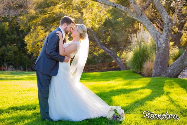 Pat wedding Bella Springs dip by tree