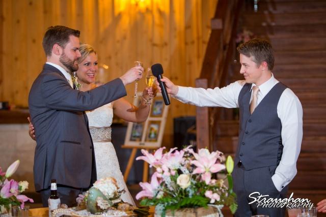 Pat wedding Bella Springs toasts