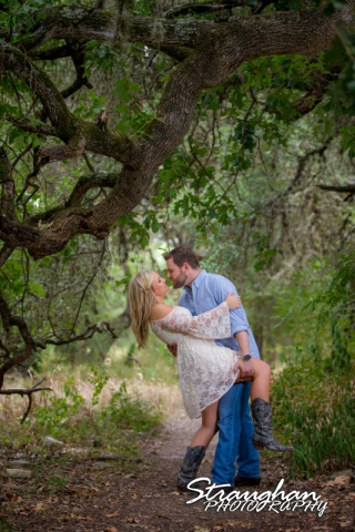 Amanda and Pat engagement Cibolo Natural area under trees