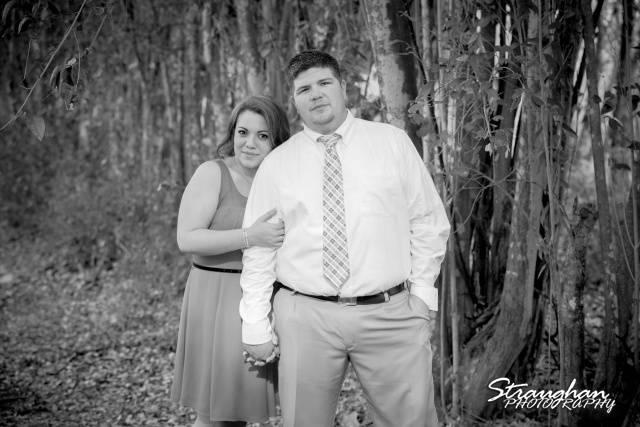 Andi's Engagement San Marcus by the tree bw