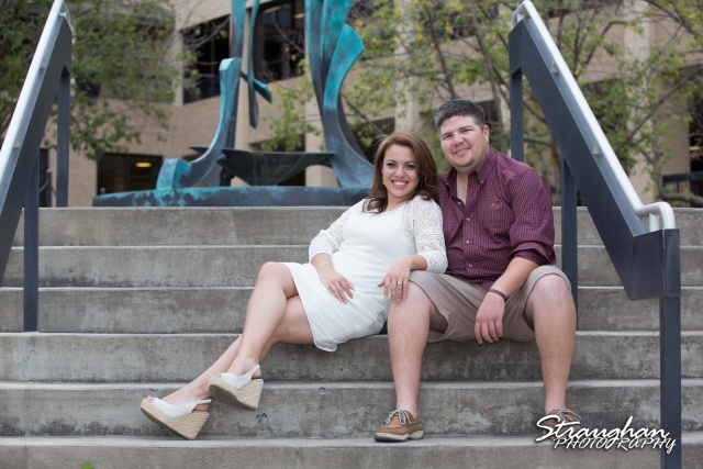 Andi's Engagement San Marcus sitting on stairs