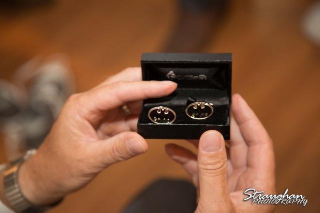 Sheehan wedding Inn on the riverwalk batman cufflinks