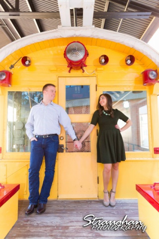 Allison engagement Pearl Brewery standing on the train
